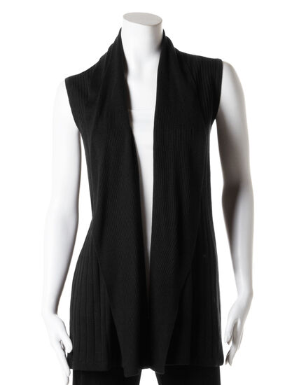 Long Open Drape Sweater Vest, Black, hi-res