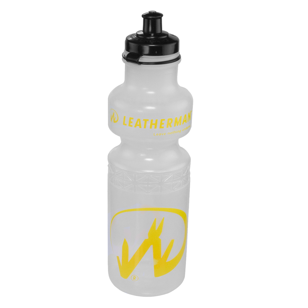 Clear Water Bottle With Yellow Print and Black Cap